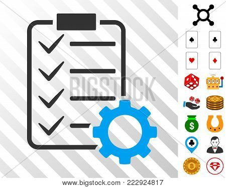 Smart Contract Gear pictograph with bonus gamble images. Vector illustration style is flat iconic symbols. Designed for casino apps.