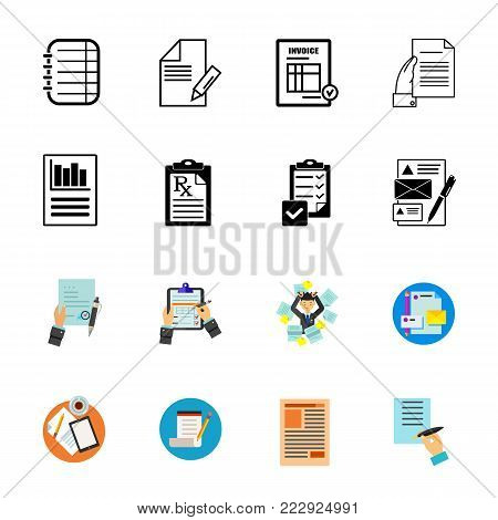 Business documents icon set. Can be used for topics like paperwork, report, agreement, contract, checklist