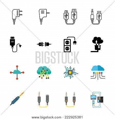Connection icon set. Can be used for topics like socket, electronics, connector, data transmission