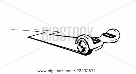 Hoverboard, gyroscooter, electric two wheels balance board vector illustration. Electric eco transport