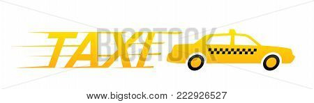 Yellow taxi car isolated on white background. Taxi service. Yellow taxi cab.