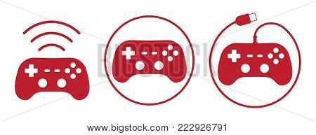 Gamepad joystick icons set vector illustration in flat style