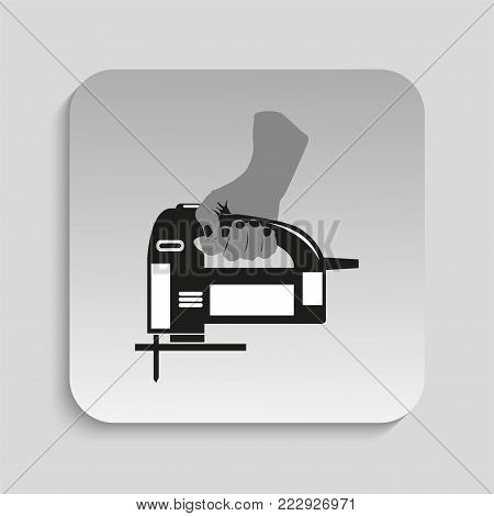 Electric Jig Saw in hand. Vector icon. Black and white vector image of a gray background.