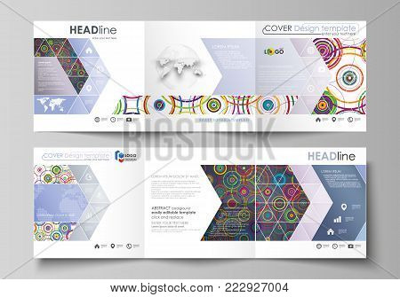 Set of business templates for tri fold square design brochures. Leaflet cover, abstract flat layout, easy editable vector. Bright color background in minimalist style made from colorful circles
