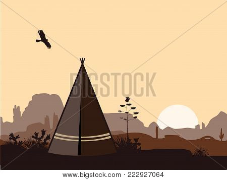 Indian wigwam silhouette with cacti, mountains, and eagle in the sky. American landscape with tribal tepee. Vector landscape