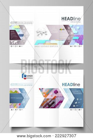 Tri-fold brochure business templates on both sides. Easy editable abstract vector layout in flat design. Bright color lines and dots, colorful minimalist backdrop with geometric shapes forming beautiful minimalistic background.