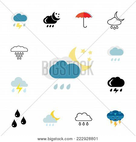 Precipitation icon set.Can be used for topics like rain, weather, forecast, meteorology