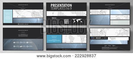 The black colored minimalistic vector illustration of the editable layout of high definition presentation slides design templates. World globe on blue. Global network connections, lines and dots