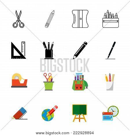 School supplies icon set. Can be used for topics like stationary, education, creativity, office