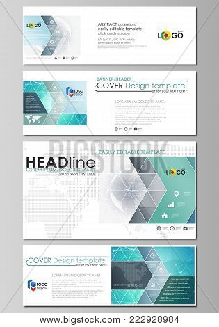 The minimalistic vector illustration of the editable layout of social media, email headers, banner design templates in popular formats. Chemistry pattern. Molecule structure. Medical, science background.