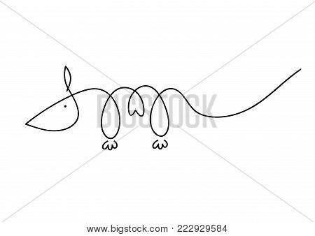 Simple cartoon rat logo. Modern geometric mouse silhouette, vector illustration