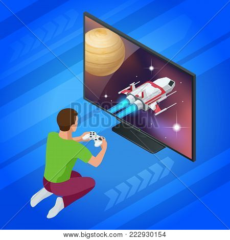 Isometric young man plays video game on TV using Gamepad. Driving car in video game. Gaming addiction concept. Flat style vector illustration. poster