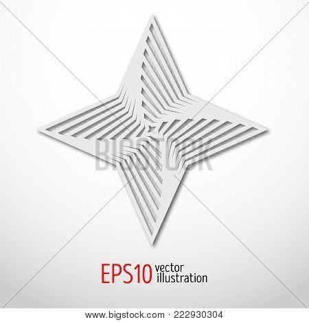 hexagonal star paper 3d design. Sacral geometry Mystery shape.Abstract art design