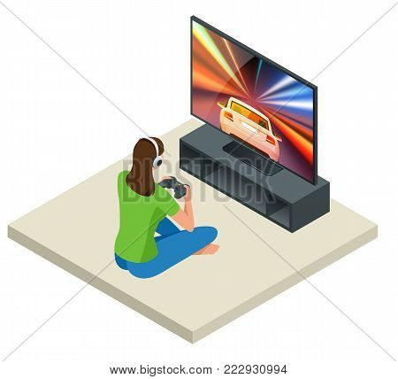 Isometric young woman plays video game on TV using Gamepad. Driving car in video game. Gaming addiction concept. Flat style vector illustration.