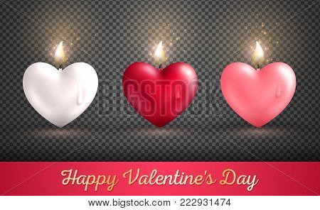 Valentine's day concept, heart shape candles set on transparent background. Vector illustration. Beloved symbol. Burning Flame Overlay Effect. White, red and pink hearts