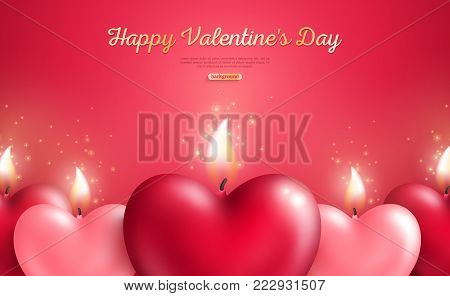 Valentine's day concept, heart shape candles set on red background. Vector illustration. Beloved symbol. Burning Flame. Red and pink hearts in bunch