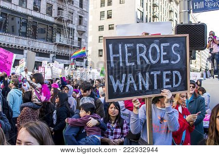 Los Angeles, California - January 20, 2018.  Women's March.