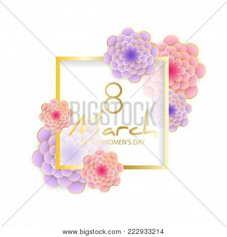Happy Women's Day greeting card. Elegant floral background with 3d paper flowers. Origami trendy design template. Elegant spring flower holiday texture in pastel colors. Happy Mother's Day, 8 march. Vector illustration, isolated on white