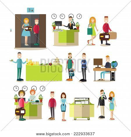 Vector illustration of hotel workers receptionist, chambermaid, porter, doorman, security guard, housemaid, guests males and females. Hotel room reservation, buffet service flat style design elements.