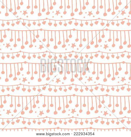 Cute doodle seamless pattern with twinkling string lights hanging in horizontal stripes, vector illustration on white background. Abstract doodle seamless pattern, backdrop with strings of lights