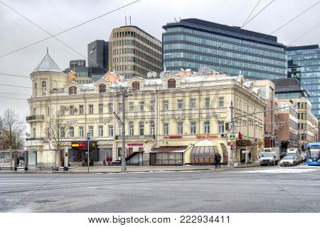 MOSCOW, RUSSIA - January 13.2018: Old pre-revolutionary merchant's house Cherepanova, 1870s Here in the 1890s was located Miusskaya town primary school. The mansion is associated with the names of A. P. and I. P. Chekhov
