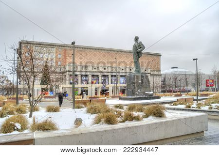 MOSCOW, RUSSIA - January 13.2018: Monument to the poet Mayakovsky and the Concert hall of Tchaikovsky the Triumfalnaya Square