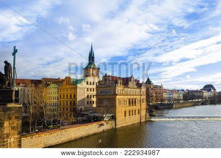 Vltava river embankment and Smetana Museum, view from the Charles Bridge, Prague, Bohemia, Czech Republic
