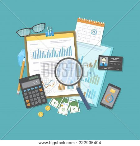 Financial audit, report, analysis. Business research, planning accounting, tax calculation. Magnifying glass over documents, calculator, glasses, identity card, money. Forms with graphs, diagrams.