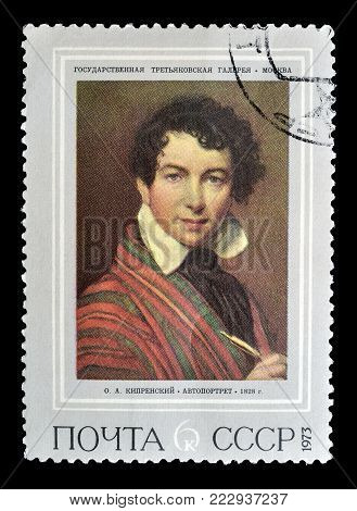 SOVIET UNION - CIRCA 1973 : Cancelled postage stamp printed by Soviet Union, that shows painting of self portrait by Kiprenskij.