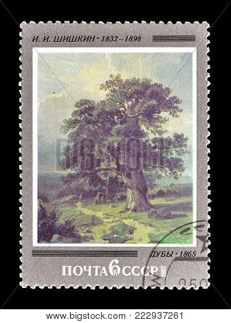 SOVIET UNION - CIRCA 1982 : Cancelled postage stamp printed by Soviet Union, that shows painting by Shishkin.