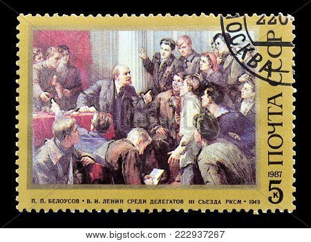 SOVIET UNION - CIRCA 1987 : Cancelled postage stamp printed by Soviet Union, that shows painting by Pjotr Beloussow.