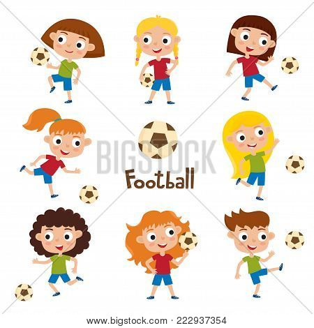 Vector illustration of little girls in shirt and short playing football. Set of cute cartoon kids kicking soccer ball isolated on white background. Pretty football players. Collection of happy children.