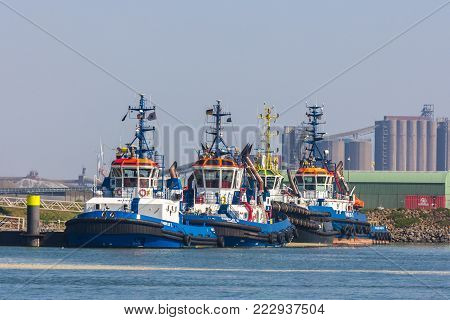 Hoek van Holland, Rotterdam, the Netherlands - 9 April 2017: tug boarts berthed in the dock of Rotterdam harbour