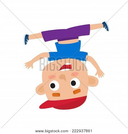 Vector cartoon illustration of little boy-dancer isolated on white. Little happy boy with dancing and smiling. Pretty dancer of hip-hop.