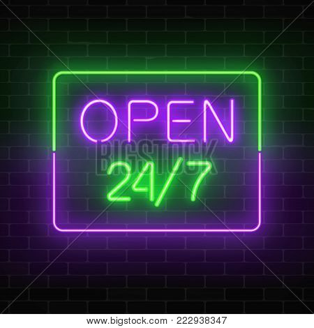 Neon open 24 hours 7 days a week sign in rectangle shape on a brick wall background. Round the clock working bar or night club signboard with lettering. Vector illustration.