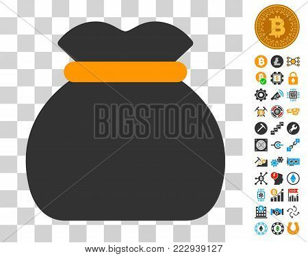 Money Bag icon with bonus bitcoin mining and blockchain images. Vector illustration style is flat iconic symbols. Designed for blockchain software.