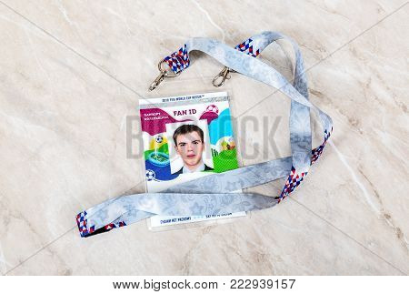 Samara, Russia - January 20, 2018: Fan ID of 2018 FIFA World Cup Russia