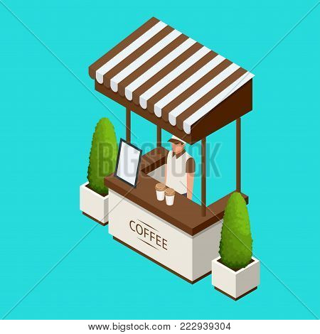 Street cafe Promotion Stand or exhibition standands, handout on blue background isolated vector illustration.