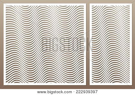 Template for cutting. Geometric line pattern. Laser cut. Set ratio 1:2, 1:1. Vector illustration.