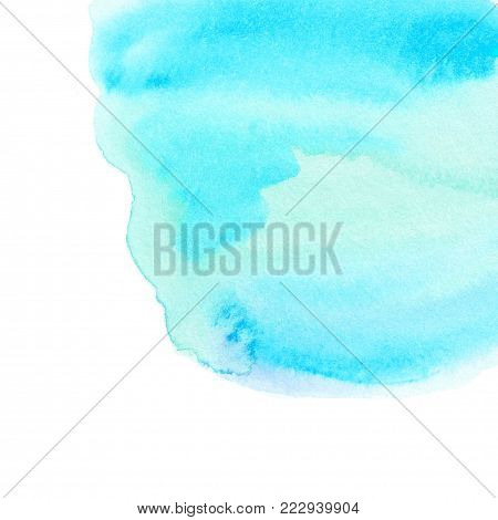 Light blue  watercolor background as texture or background. Teal or turquoise Watercolour spot