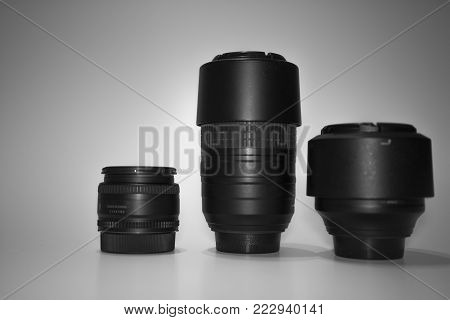 lenses with different focal lengths are on a white background