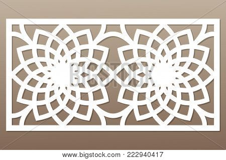 Template for cutting. Geometric flower pattern. Laser cut. Ratio 1:2. Vector illustration.