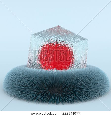 3d creative illustration abtract ice cube on fur minimalistic . 3d rendering