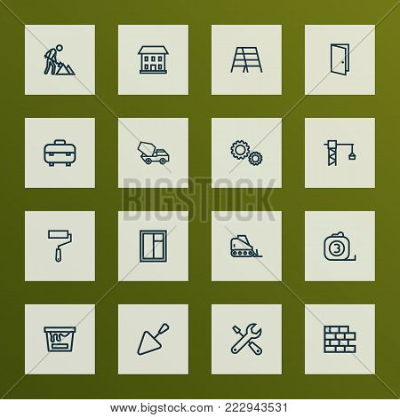 Architecture icons line style set with bulldozer, gear, trowel and other construction works elements. Isolated vector illustration architecture icons.