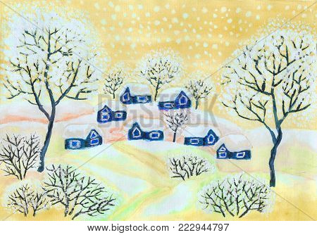 Hand painted Christmas picture, winter landscape with houses and trees in yellow colours, used watercolours, gouache, acrylic.