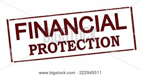 Rubber stamp with text financial protection inside, vector illustration