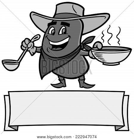 Chili Bean Cowboy Illustration - A vector cartoon illustration of a Chili Bean Cowboy mascot.