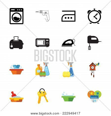 Icon set of household appliances. Domestic appliances, housework, chores. Housekeeping concept. Can be used for topics like technology, cleaning service, domestic life