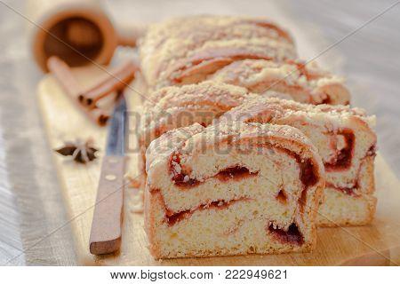 yeast strudel strawberry,strudel yeast cherry,Home made yeast cake