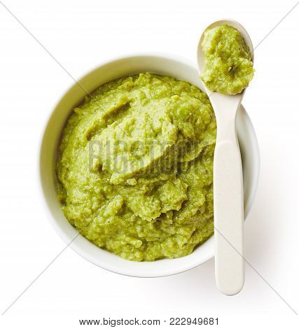 Green Peas And Broccoli Baby Puree Isolated On White